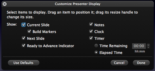 Use Presenter Display to enhance your Keynote presentations