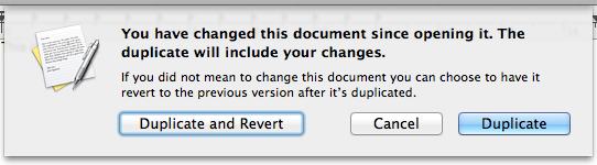Duplicate and Revert Dialog