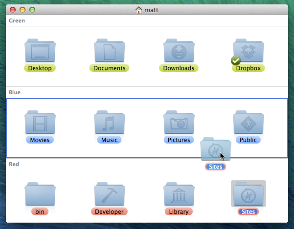 Screenshot: Drag files to change label in Finder