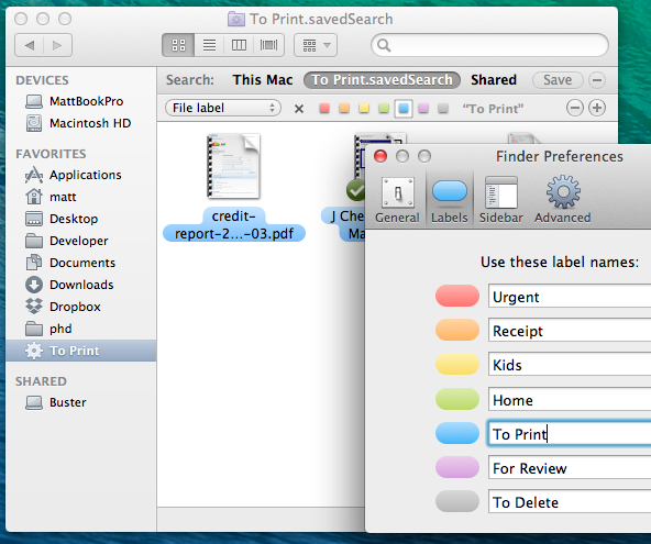 Screenshot: Saved search for Finder labels