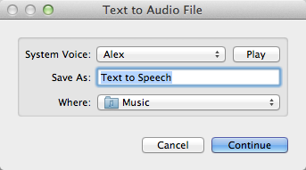 Add any text to iTunes as a spoken track | Automator, iTunes, System