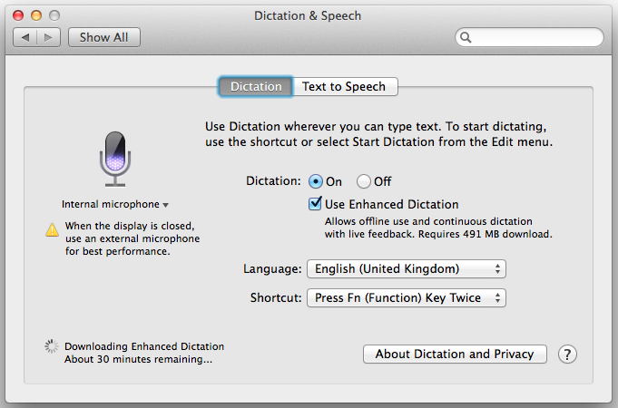 Mavericks Enhanced Dictation