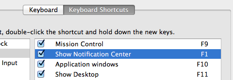 Keyboard Shortcut for Notification Center