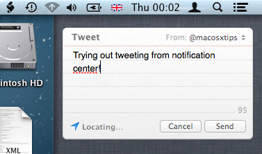 Tweet from Notification Center